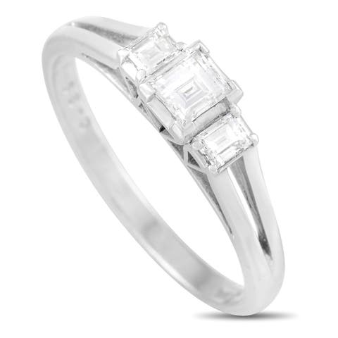 Mikimoto Platinum 0.39 ct Diamond Ring Size 6.75