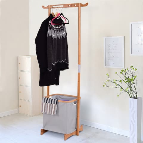Gymax Bamboo Clothes Drying Rack Laundry Hamper Garment Hanger Storage