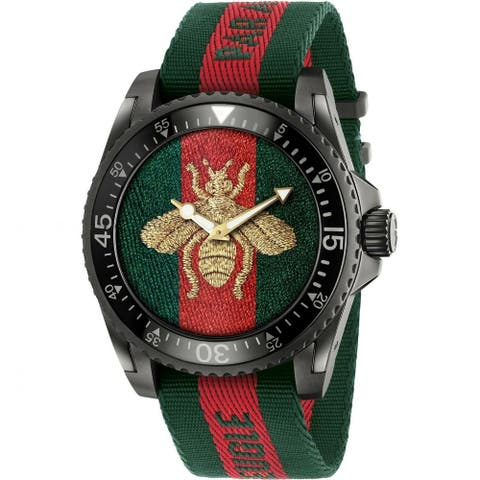 Gucci Men's YA136216 'Dive' Two-Tone Fabric Watch - Multi