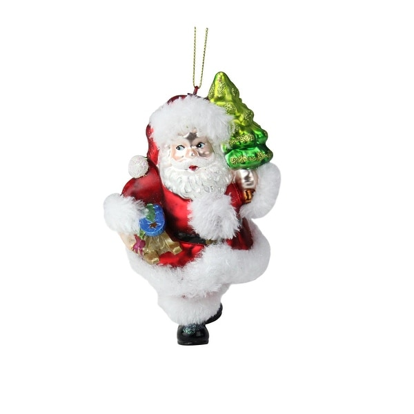 "6"" Festive Fur and Glitter Accented Santa Claus Glass Christmas Ornament"