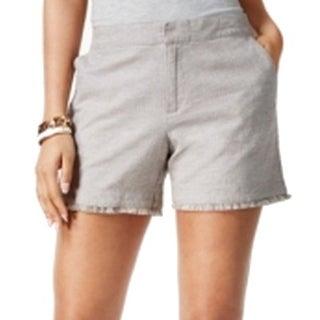 Tommy Hilfiger NEW Gray Women's Size 8 Frayed Hem Flat Front Shorts