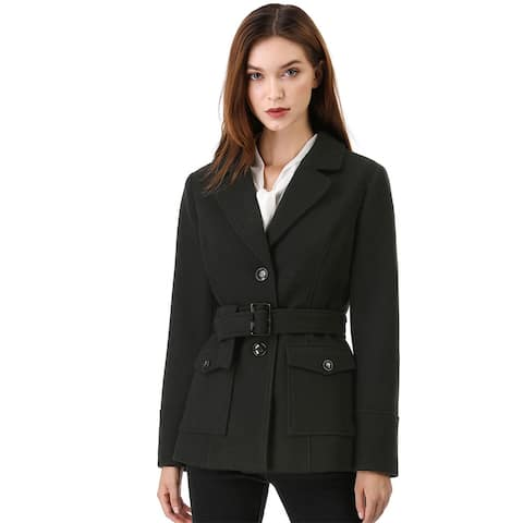 Women's Winter Notched Lapel Belted Single Breasted Casual Pea Coat - Black
