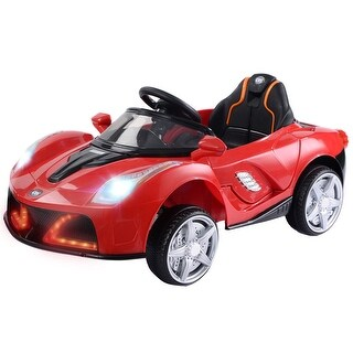12V Battery Powered Kids Ride On Car RC Remote Control w/ LED Lights Music - Red