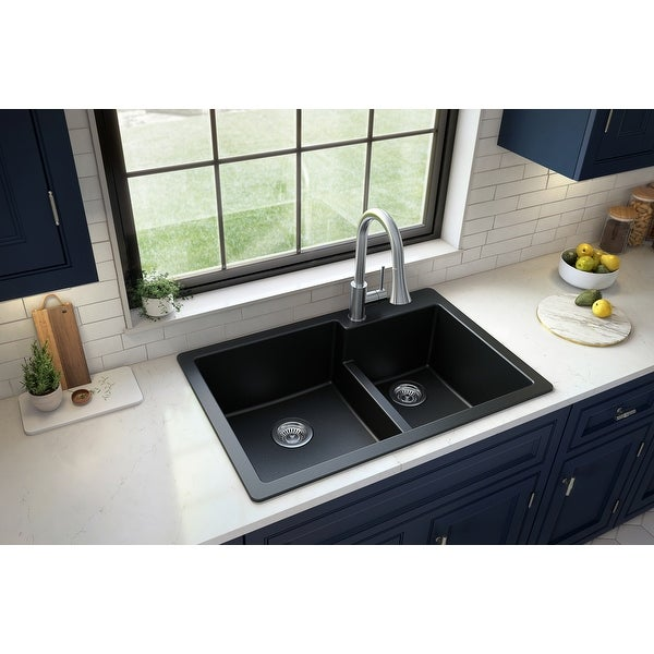 "Karran Top Mount Large/Small Bowl Quartz Kitchen Sink - 33"" x 22"" x 9"" - 33"" x 22"" x 9"". Opens flyout."