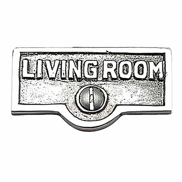 Switch Plate Tags LIVING ROOM Name Sign Labels Chrome Brass | Renovator's Supply