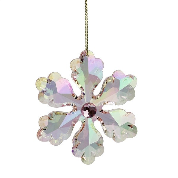 """4"""" Rich Elegance Pink Iridescent Faceted and Jeweled Snowflake Christmas Ornament"""
