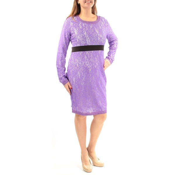75bff38859 Womens Purple Long Sleeve Knee Length Casual Dress Size: 12