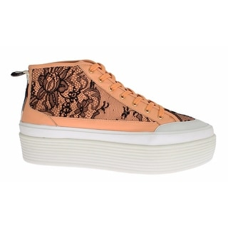 Dolce & Gabbana Orange Leather Floral Lace Sneakers Shoes - 39