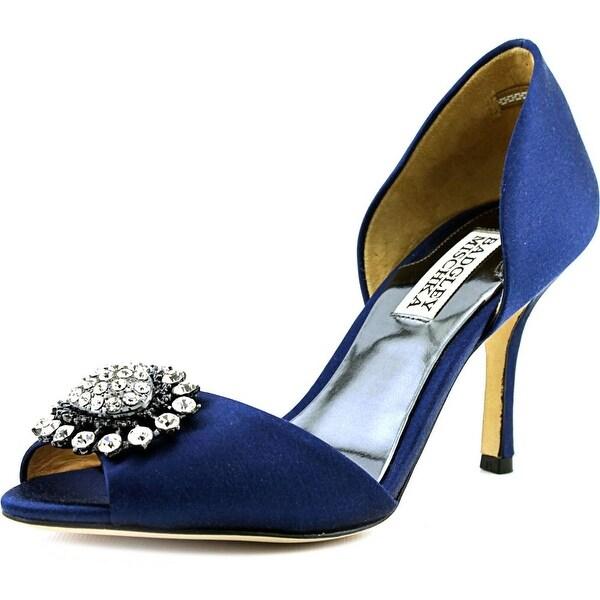 Badgley Mischka Lacie Peep-Toe Canvas Heels