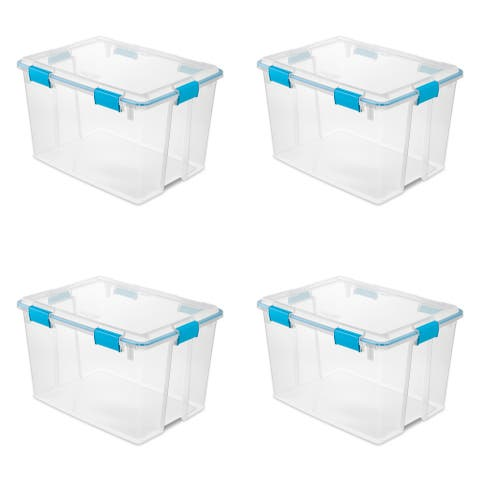 STERILITE 80 Quart Gasket Storage Boxes, Clear - Case of 4