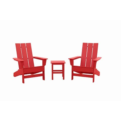 Wyndtree 3 Piece Recycled Plastic Modern Adirondack Chair with Side Table Set