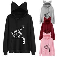 Women Cute Front Pocket Cat Ear Hoodie Sleeping Cat Pattern Pullover Sweatshirt