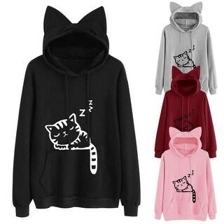 Women Cute Front Pocket Cat Ear Hoodie Sleeping Cat Pattern Pullover Sweatshirt