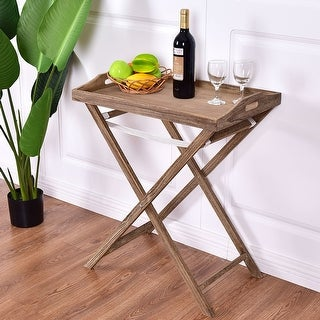 Costway Folding Table Tray End Serving Table Portable
