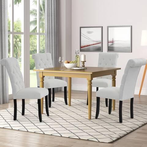 TiramisuBest Modern linen dining room chair 2 pcs set with seat