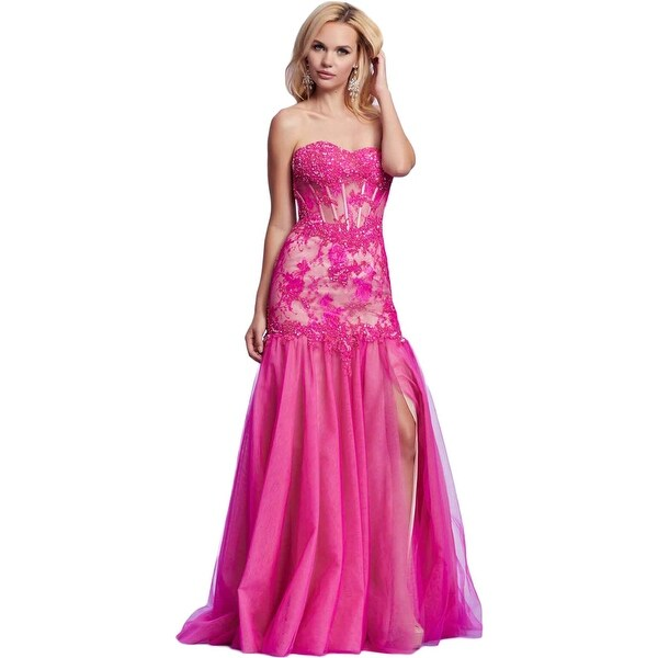 Mac Duggal Womens Formal Dress Lace Strapless