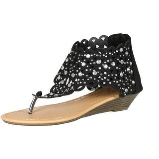 Luo Luo Womens Wedge Heel Sandals Fuschia Rhinestone Embellished Thongs