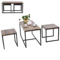 Costway 3 Piece Nesting Coffee & End Table Set Wood Modern Living Room Furniture Decor