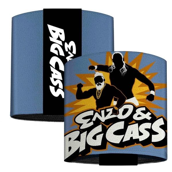 Enzo & Big Cass Logo Silhouette Pose Gray Golds Black White Elastic Wrist Elastic Cuffs