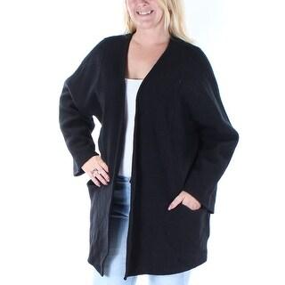 ALFANI $180 Womens New 1439 Black Pocketed Open Cardigan Casual Top L B+B