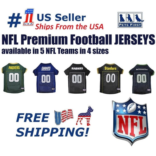 d8ac33d4f Pets First NFL Premium Pet Jersey for Dogs  amp  CATS - Licensed. 5 Teams