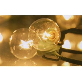 Set of 10 Clear G40 Globe Patio or Garden Christmas Lights - Green Wire