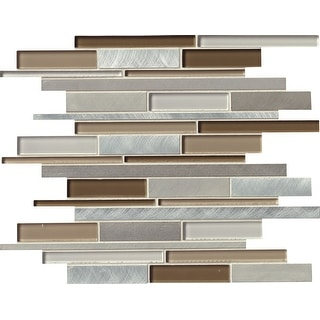 "MSI GLSMTIL-MA8MM  12"" x 12"" Linear Mosaic Wall Tile - Smooth Glass Visual - Sold by Carton (10 SF/Carton) - Multicolored"