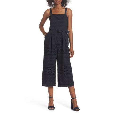 Eliza J Womens Lace Ribbon Strap Cotton Jumpsuit