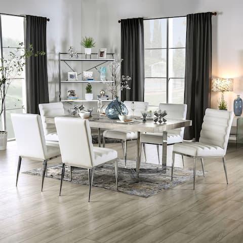 Furniture of America Lemm Contemporary Chrome 7-piece Dining Set