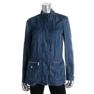 Calvin Klein Womens Cargo Adjustable Sleeves Denim Jacket - XS
