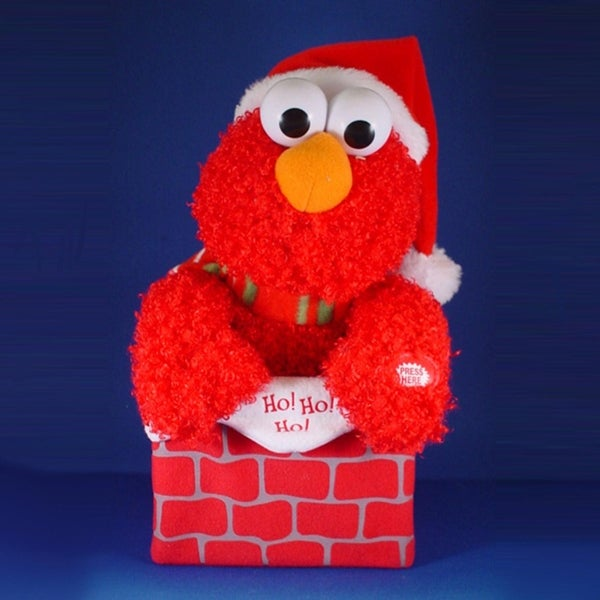"12"" Sesame Street Animated and Musical Elmo in Chimney Christmas Decoration"