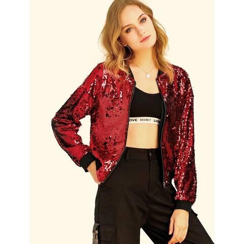 Allegra K Women's Sequin Glitter Long Sleeve Zipper Bomber Jacket