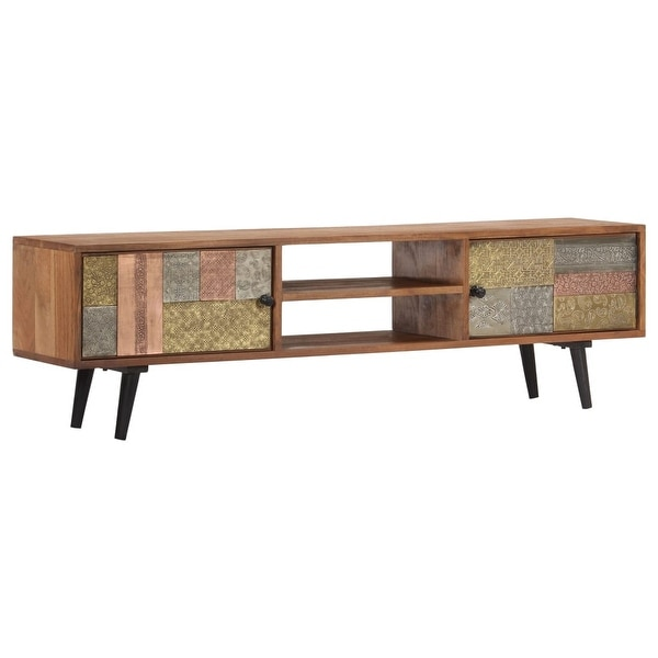 "vidaXL TV Cabinet 55""x11.8""x15.7"" Solid Acacia Wood. Opens flyout."