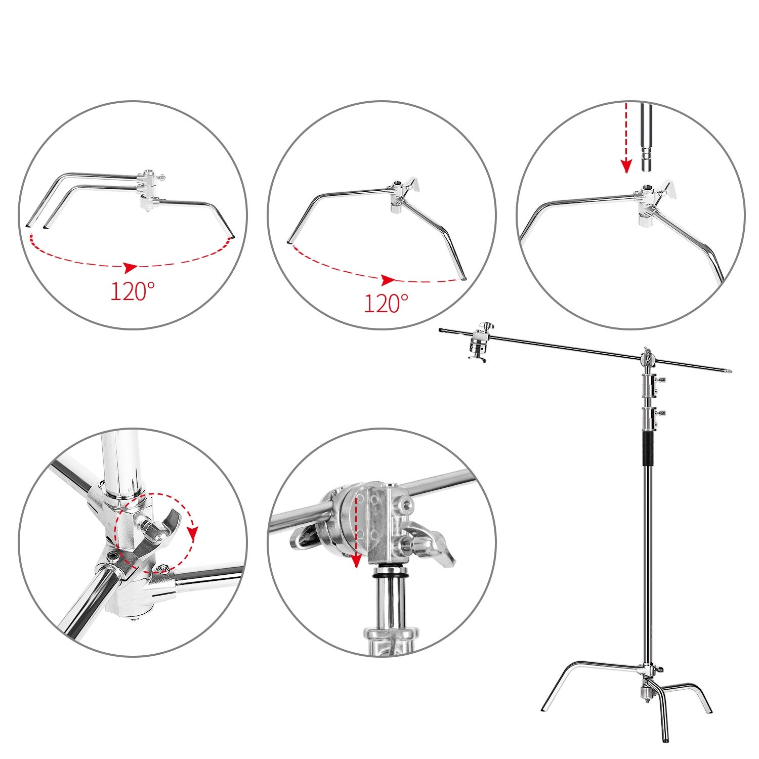 Kshioe 40 Photo Studio Adjustable Lighting Umbrella Stands With Holding Arm Overstock 31144247