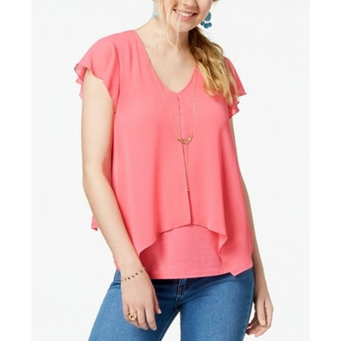 BCX Pink Size Large L Junior Handkerchief Hem Necklace Blouse Top