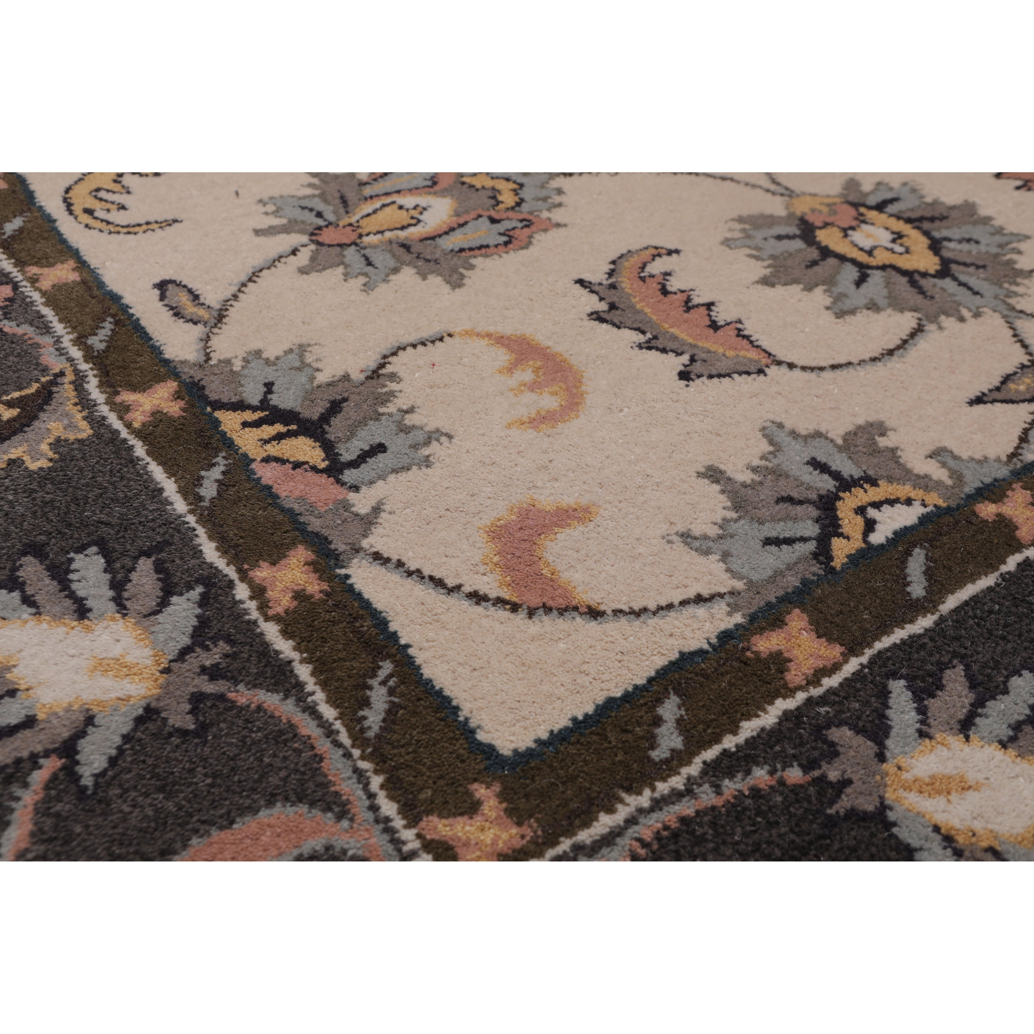 5 X8 Hand Tufted Wool Floral Kashan Oriental Area Rug Beige Grey Color 5 X 8 On Sale Overstock 31310720
