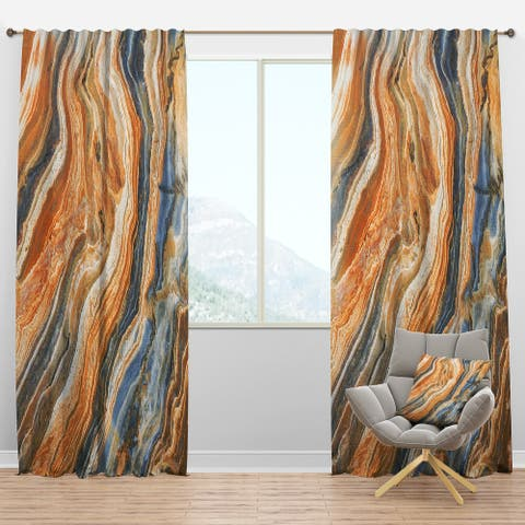 Designart 'Segment Layers of Marbled Rock' Traditional Blackout Curtain Panel