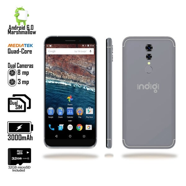 Indigi 5.6inch 2018 4G LTE Unlocked Android 6 SmartPhone [2SIM + Quad-CORE + Fingerprint Scan] Black + 32gb microSD