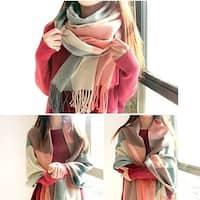 Women's Long Plaid Blanket  big warm Scarf