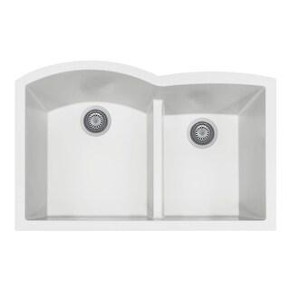 "Houzer P-175U Quartztone 33"" Undermount Double Basin Granite Composite Kitchen Sink (Option: taupe)"