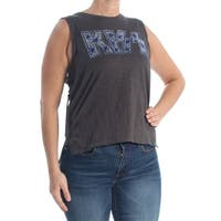 LUCKY BRAND Womens Gray Embellished Sleeveless T-Shirt Top  Size: L