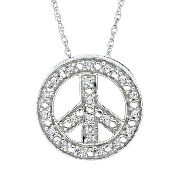 1/10 ct Diamond Peace Sign Pendant in 14K White Gold