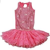 Ooh! La La! Couture Little Girls Candy Pink Skull Detail Poufier Dress