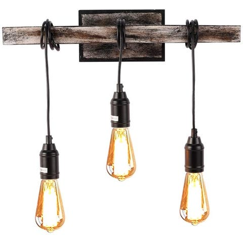 3 light simplicity vintage wall sconce wire wood beam wall lamp