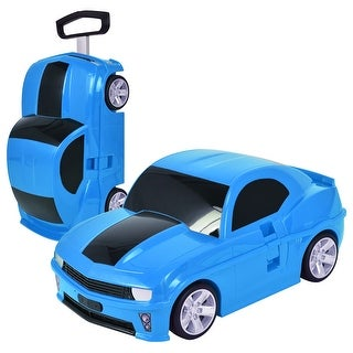 Costway Car Shape 3D Kids Pull Along Travel Case Suitcase Trolley Luggage Carry-On Blue