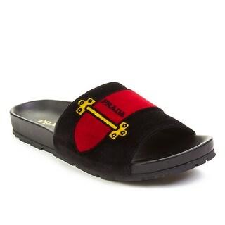 Prada Women's Leather Velvet Slide Sandal Shoes Black (3 options available)