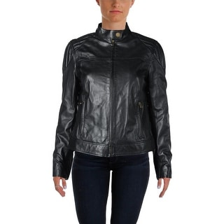 LRL Lauren Jeans Co. Womens Leather Quilted Shoulder Motorcycle Jacket - 6