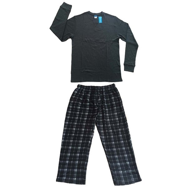 Men Cotton Thermal Top & Fleece Lined Pants Pajamas Set (Grey)
