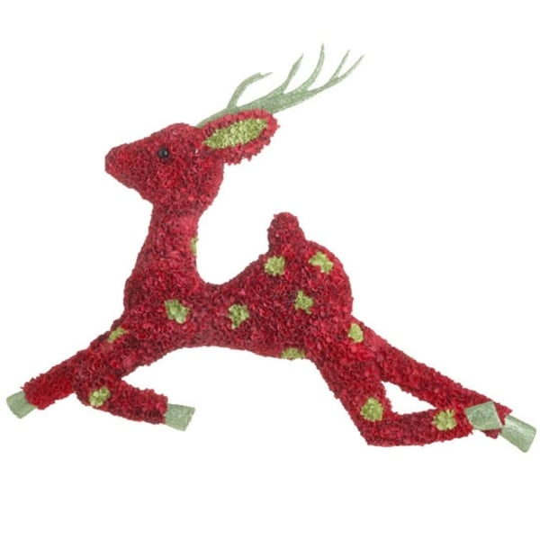 "20"" Whimsical Leaping Red and Green Glittered Hydrangea Christmas Reindeer"