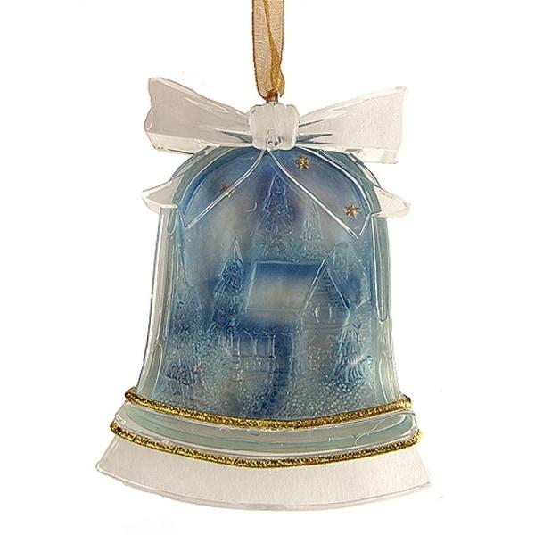 "3"" Crystal Elegance Winter Scene Bell-Shaped Christmas Ornament"
